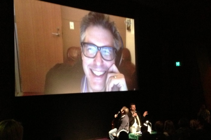 Hosting the Q&A for Sleepwalk With Me with Mike Birbiglia and Ira Glass (via Skype) (photo credit: Kate McCurdy)